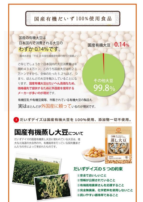 国産の有機大豆を100%使用しています。