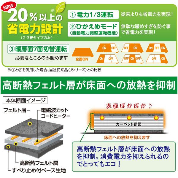 ゼンケン 電気ホットカーペットは20%以上の省電力設計!無駄な暖めすぎを防ぐひかえめモードや暖房面7面切替運転など必要なところだけ暖めて消費電力を抑える事ができます。また、高断熱フェルト層が床面への放熱を抑制してくれるので表面のぽかぽかを維持。