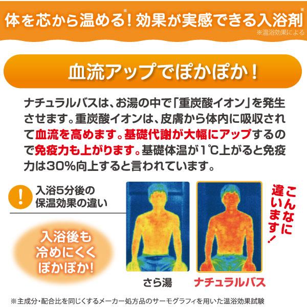薬用重炭酸入浴剤ナチュラルバスは体を芯から温める、効果が実感できる入浴剤です。血流アップでぽっかぽか!