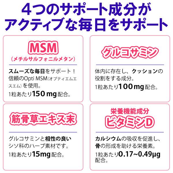 MSM筋骨草プラス 栄養機能食品(ビタミンD)クロレラ工業は、4つのサポート成分がアクティブな毎日をサポートします!MSM(メチルサルフォニルメタン、グルコサミン、筋骨草エキス末、ビタミンD)
