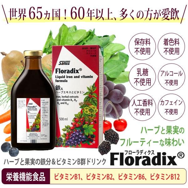 世界65ヶ国!60年以上、多くの方が愛飲!ハーブと果実の鉄分&ビタミンB群ドリンクフローラディクスFloradix。栄養機能食品:ビタミンB1、ビタミンB2、ビタミンB6、ビタミンB12