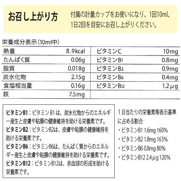 フローラディクスのお召し上がり方。付属の計量カップをお使いになり、1回10ml、1日2回を目安にお召し上がりください。