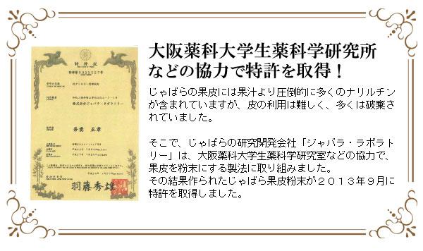 大阪薬科大学生薬科学研究所などの協力を得て、じゃばらの果皮を粉末にする方法で特許取得!