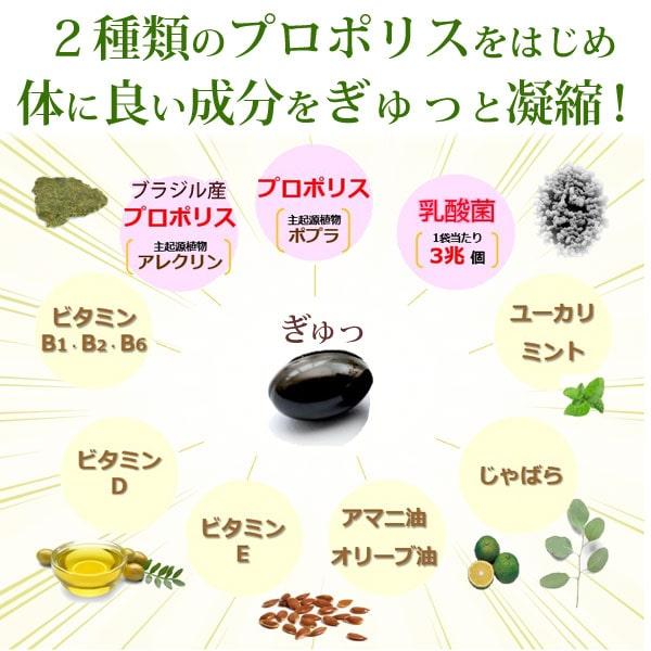 森川健康堂のプロポリスサプリメントは2種類のプロポリスをはじめ体に良い成分をぎゅっと凝縮!