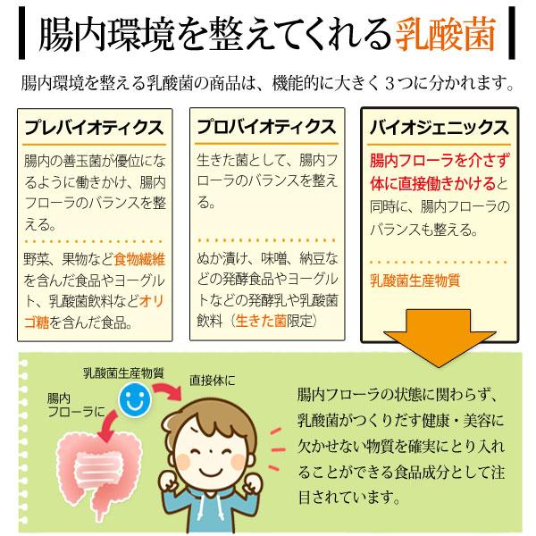 腸内環境を整えてくれる乳酸菌の商品は、機能的に大きく3つに分かれます。腸内フローラを介さず体に直接働きかけると同時に、腸内フローラのバランスも整えるのが乳酸菌生産物質です。