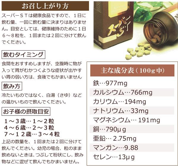 漢方由来植物性健康食品 スーパーSTのお召し上がり方、成分表