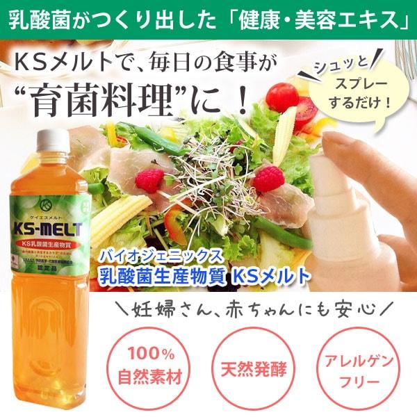 乳酸菌がつくりだした健康・美容エキス KSメルト!KSメルトで毎日の食事が育菌料理にバイオジェニックス乳酸菌生産物質KSメルト