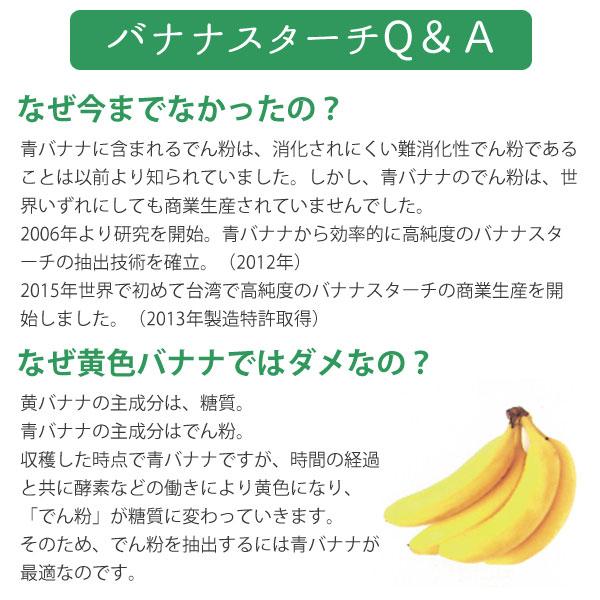 黄色バナナの主成分は糖質。青バナナの主成分はでん粉。青バナナは時間経過と共に酵素などの働きにより黄色になり、「でん粉」が糖質に変わっていきます。そのため、でん粉を抽出するには青バナナが最適なのです。