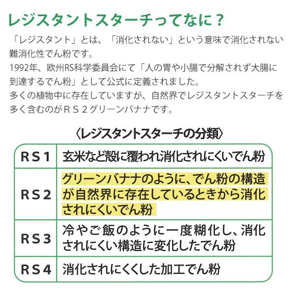 レジスタントスターチとは消化されない難消化性でん粉です。自然界でレジスタントスターチを多く含むのがRS2グリーンバナナです。