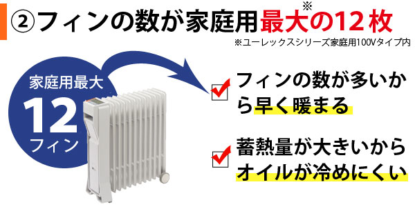 LFX12EHはフィンの数が家庭用最大の12枚だから早く暖まり、蓄熱量が大きいからオイルが冷めにくい
