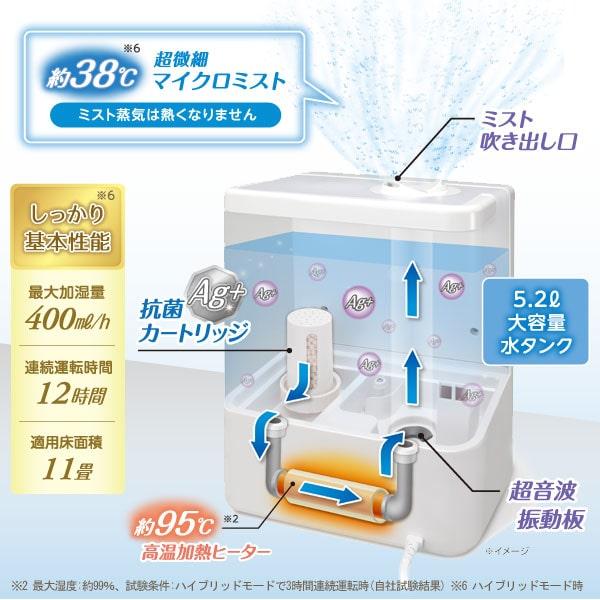 吹き出す超微細マイクロミストは約38度。ミスト蒸気は熱くなりません。5.2Lの大容量水ダンク。約95度高温加熱ヒーター