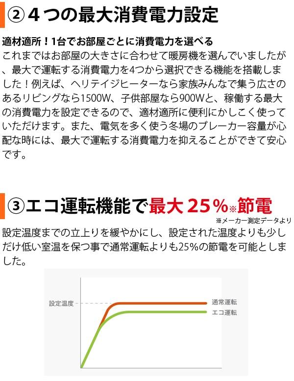 4つの最大消費電力設定、エコ運転機能で最大25%節電