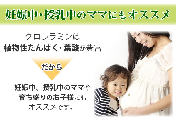 クロレラミンは動物性たんぱく・葉酸が豊富だから妊娠中、授乳中のママや育ち盛りのお子様にもオススメ